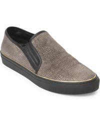 Balmain Textured Leather Slip-ons - Black