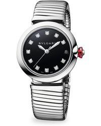 BVLGARI - Lucea Stainless Steel & Diamond Bracelet Watch - Lyst
