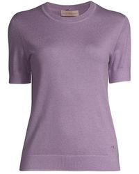 Tory Burch Printed Scarf Short-sleeve Cashmere Sweater - Purple