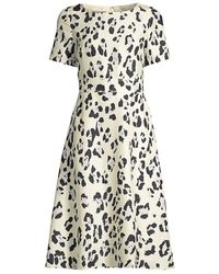 Lafayette 148 New York Amanda Print Silk Short-sleeve Flare Dress - Multicolor