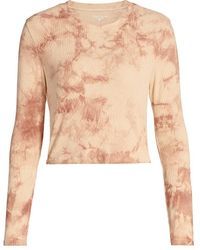 Year Of Ours Tie-dye Rib-knit Long-sleeve Sleep Shirt - Natural