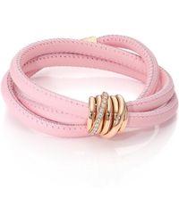 De Grisogono - Allegra Diamond, 18k Rose Gold & Leather Wrap Bracelet/rosa - Lyst
