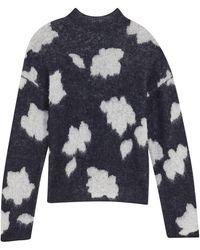 Theory Floral Alpaca-blend Sweater - Black