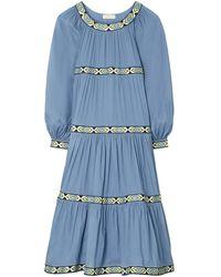 Tory Burch Embroidered Trim Puffed-sleeve Dress - Blue
