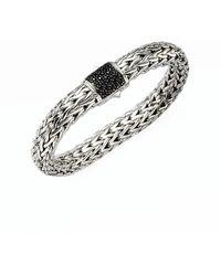 John Hardy Classic Chain Black Sapphire & Sterling Silver Large Bracelet - Metallic