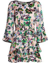 Saloni Marissa Ruffle Mini Dress - Multicolor