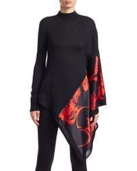 Roberto Cavalli Women's Asymmetric Wool & Silk Turtleneck Sweater - Black Ruby