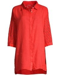 120% Lino 120% Lino Relaxed-fit Embroidered Linen Shirt