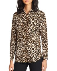 Equipment - Slim Signature Silk Leopard Print Shirt - Lyst