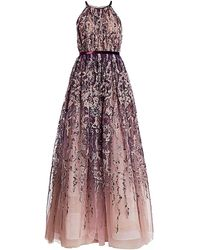Pamella Roland Sleeveless Embellished Tulle Ball Gown - Multicolor