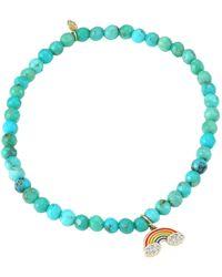 Sydney Evan - 14k Yellow Gold, Matrix Turquoise & Diamond Rainbow Charm Bracelet - Lyst