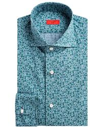 Isaia Contemporary-fit Floral Dress Shirt - Green