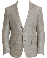 Robert Graham Leland Tailored-fit Linen-blend Blazer - Gray