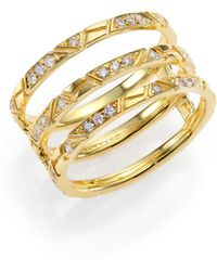 Ron Hami | Bar Diamond & 18k Yellow Gold Engraved Lines Three-row Ring | Lyst