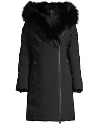 Mackage Trish Silver Fox Fur-trim & Rabbit Fur-line Down Coat - Black
