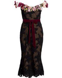 Marchesa Off-the-shoulder Floral Appliqué Lace Cocktail Dress - Black