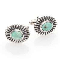 King Baby Studio Turquoise Concho Cuff Links - Metallic