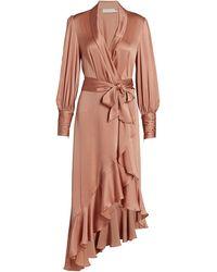 Zimmermann - Wild Botanica Silk Wrap Midi Dress - Lyst