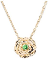 Aurelie Bidermann - Green Tsavorite 18k Gold Floral Rose Pendant Necklace - Lyst
