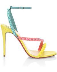 Christian Louboutin Mafaldina Spike Colorblock Leather Sandals - Red