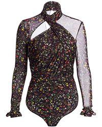 Altuzarra Vox Floral Cut-out Bodysuit - Black