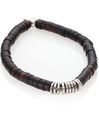 Tateossian Silver Bamboo Bracelet - Brown