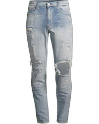Hudson Jeans Zack Super Skinny Distressed Jeans - Blue