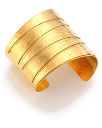 Nest - 22k Gold-plated Hammered Banded Cuff Bracelet - Lyst
