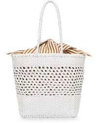 Loeffler Randall Maya Woven Leather Tote - White