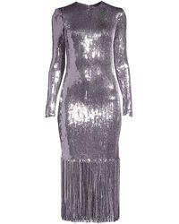 Rebecca Vallance Matisse Fringe Hem Sequin Midi Dress - Purple