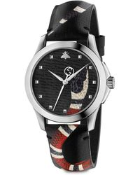 Gucci Le Marché Des Merveilles Stainless Steel And Snake-print Leather Strap - Black