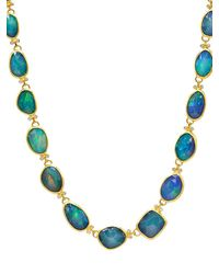 Gurhan 22k & 24k Yellow Gold, Faceted Opal & Diamond Necklace - Metallic