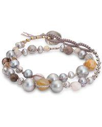 Chan Luu - 4-9mm Grey Pearl & Opal Double Wrap Bracelet - Lyst