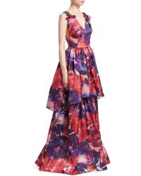 David Meister - Printed Layered Gown - Lyst
