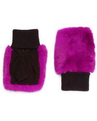 Glamourpuss Rabbit Fur & Suede Knit Fingerless Mittens - Multicolor