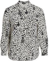 Lafayette 148 New York Zora Silk Animal Print Shirt - Black