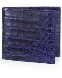 Santiago Gonzalez Men's Crocodile Billfold Wallet - Brown - Blue