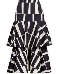 Johanna Ortiz Vanguard Tiered Printed Cotton Midi Skirt - Black