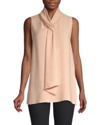 Lafayette 148 New York - Abbie Silk Tie Neck Blouse - Lyst