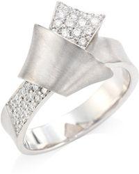 Carelle - Jumbo Knot Diamond & 18k White Gold Ring - White Gold - Lyst