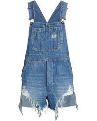 R13 Overall Denim Shorts - Blue