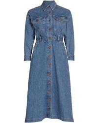 Alice + Olivia Dahlia Cargo Pocket Denim Shirtdress - Blue