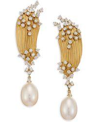 Hueb - Plisse Diamond, Pearl & 18k Yellow Gold Drop Earrings - Lyst