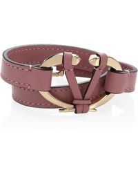 Valentino - Rivet Leather Bracelet - Lyst