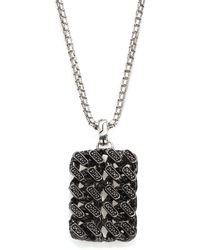 John Hardy - Gourmette Lava Sterling Silver & Black Ruthenium Pendant With Black Sapphires - Lyst
