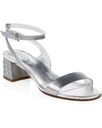 Tod's - Metallic Leather Slingback Sandals - Lyst