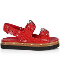 3.1 Phillip Lim Alix Lizard-embossed Leather Flatform Slingback Sandals - Red