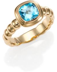 John Hardy - Bedeg Swiss Blue Topaz & 18k Yellow Square Ring - Lyst