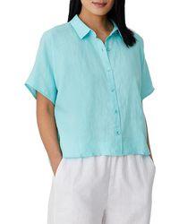 Eileen Fisher Organic Linen Collared Short-sleeve Shirt - Blue
