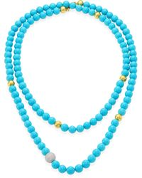 Gurhan - Amulet Hue Diamond, Turquoise & 22-24k Yellow Gold Strand Necklace/50 - Lyst